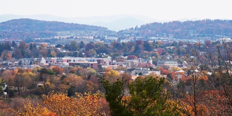 Aerial view of fall colors in Harrisonburg, VA