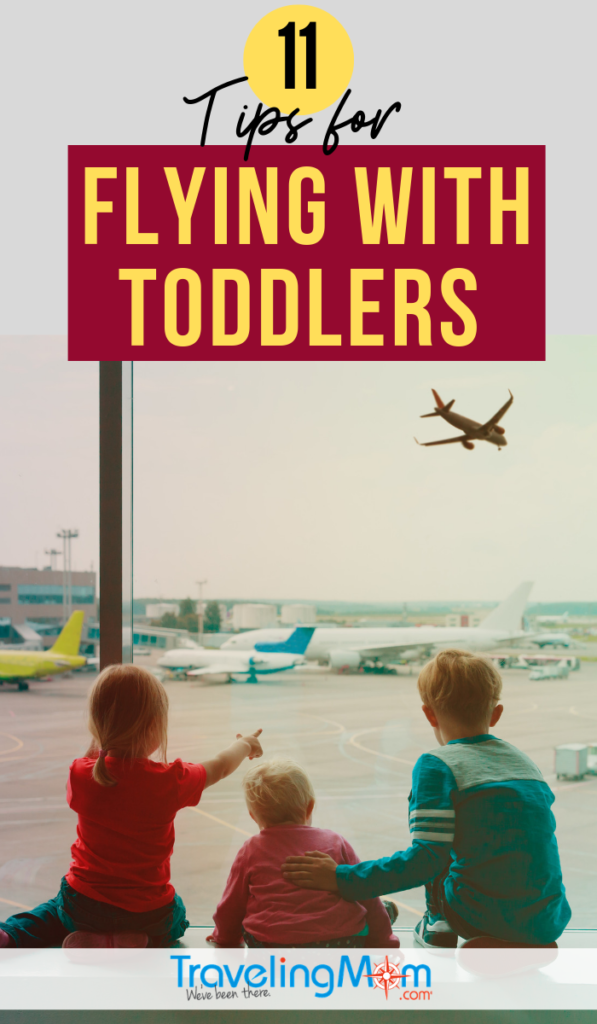 Toddler air travel takes preparation pre-flight. These are the survival tips for a plane trip with a toddler including what to carry on, entertainment, diapering and snacks. Flying with a toddler can be bearable with these practical ideas! #TMOM #Flying #Toddler | TravelingMom | Flying with Kids | Travel with Kids | Family Travel
