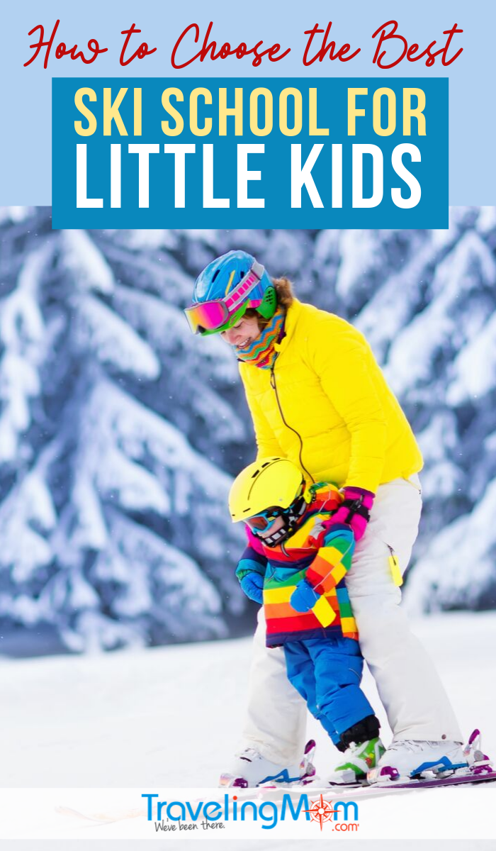 Ski school is the best place for little kids to learn how to handle themselves on the snow. Find out what to look for when choosing the best ski schools, snowboarding tips, and advice for toddlers to older kids. #TMOM #Skiing #WinterTravel | TravelingMom | Family Travel | Travel with Kids | Winter Travel Tips