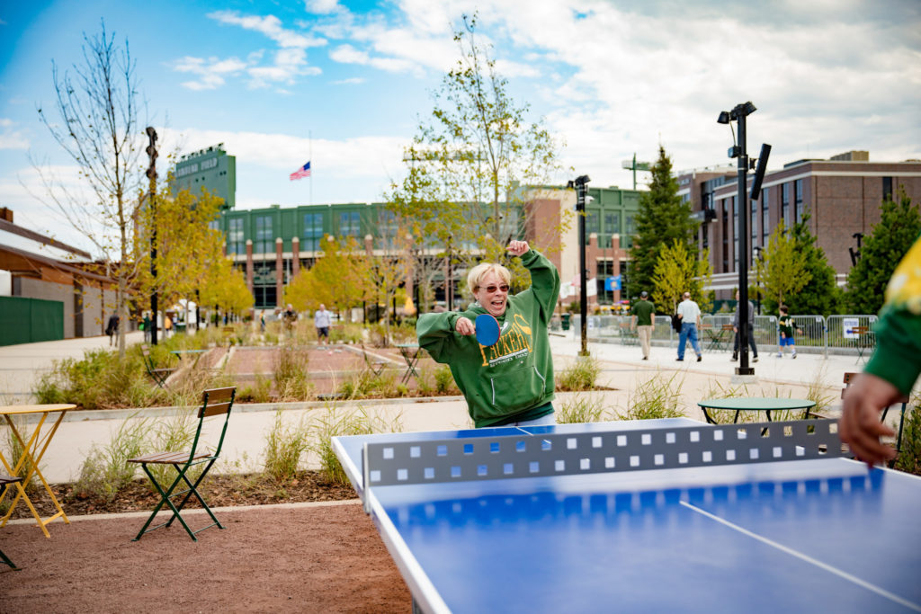 Ping pong and other family games are offered in Titletown Green Bay