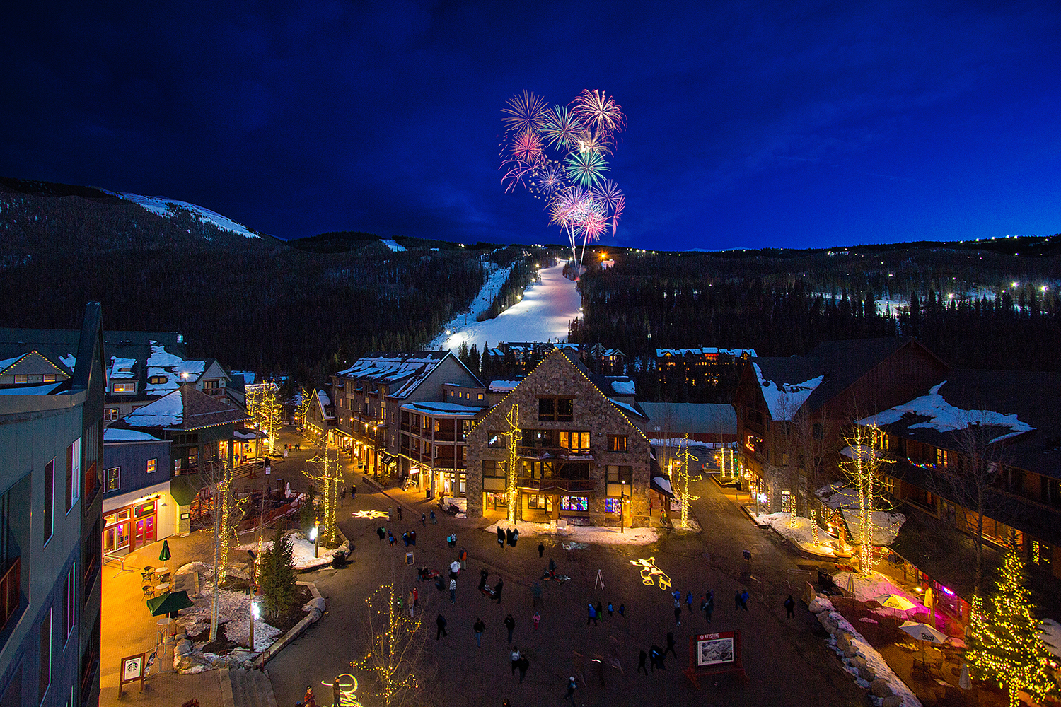 Fireworks lighting up the night sky at Keystone Resort.