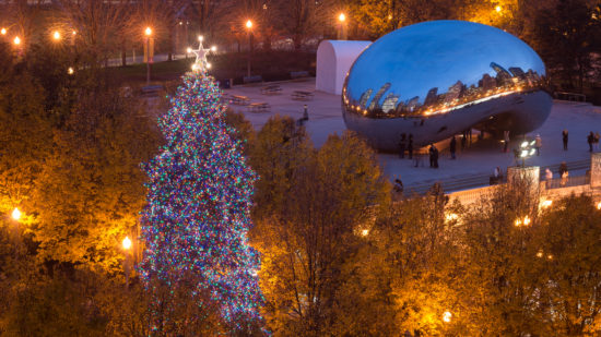 The annual tree lighting is one way to celebrate Christmas in Chicago.