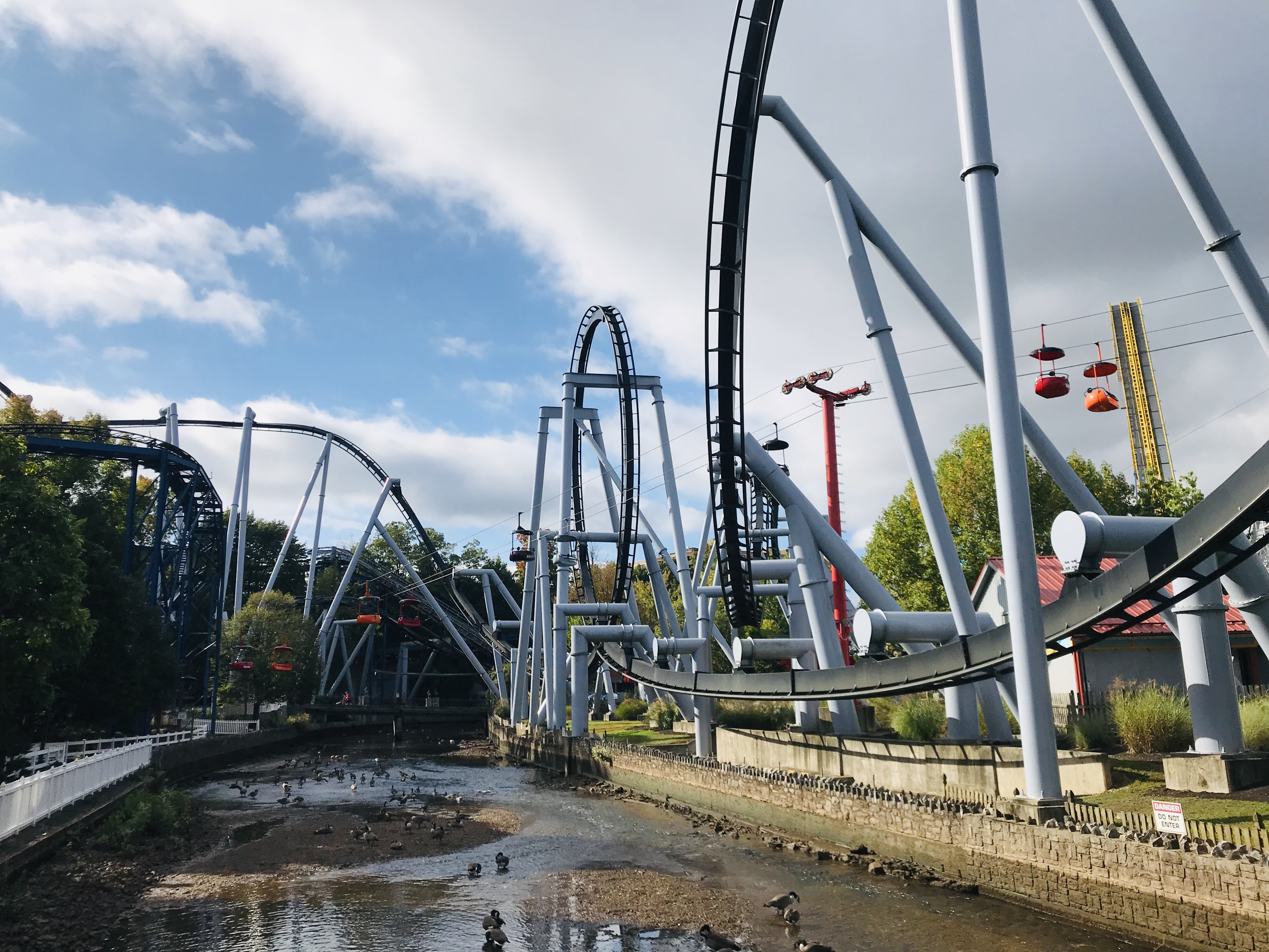 Roller coasters are operating during Halloween at Hersheypark.