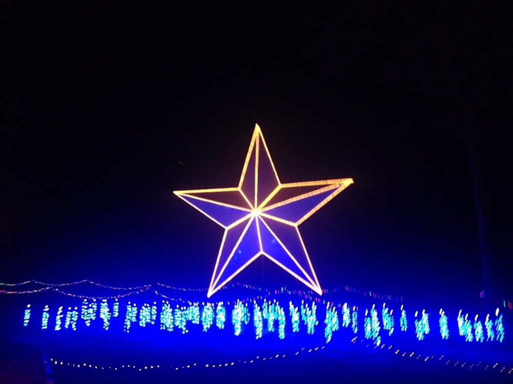giant blue texas star christmas lights at santas wonderland- TravelingMom
