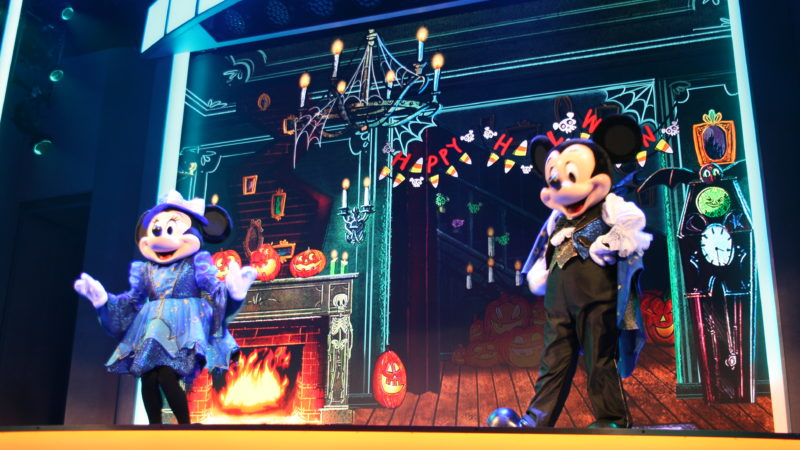 Minnie and Mickey on stage during Oogie Boogie Bash