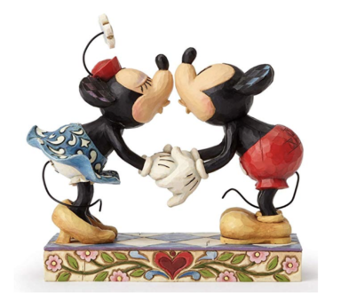 Mickey Mouse Kissing Minnie Stone Resin Figurine - TravelingMom