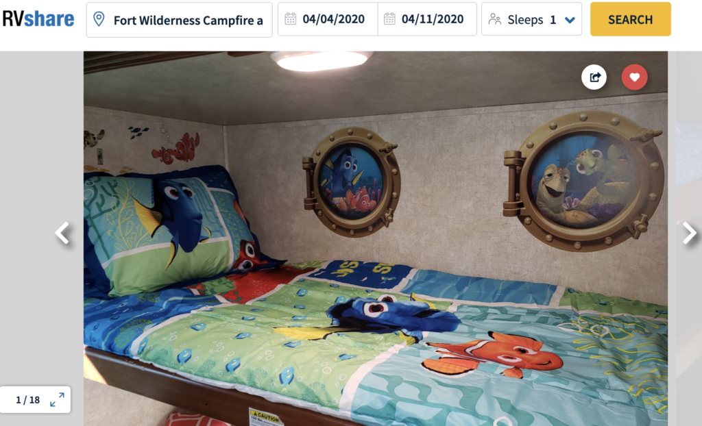 RV bunk bed with Finding Nemo theme