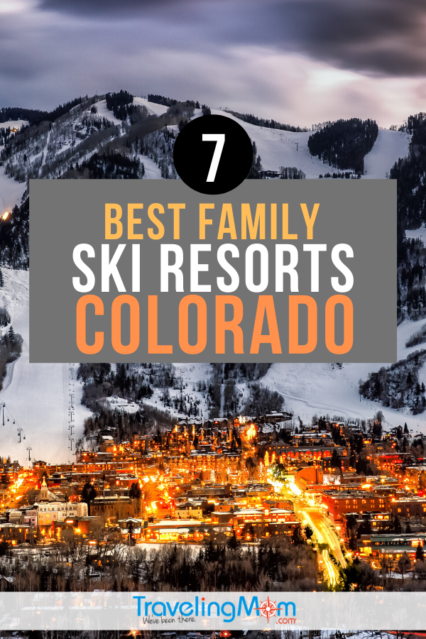 "300 days of sunshine and 300"" of snow make Colorado the ideal winter family vacation destination! These are the top ski resorts in Colorado that are perfect for families including tips for ski in/ski out, ski school, and more. #TMOM #Colorado #Skiing #WinterTravel #SkiVacation 