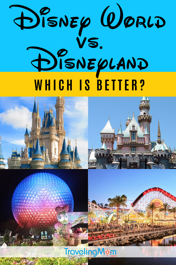 When planning your Disney family vacation, are you torn between choosing Walt Disney World or Disneyland? Both parks have their own unique characteristics that make them great, but which theme park is best for your vacation? Get the breakdown on the Florida and California parks including resort hotels, dining, rides and more. #TMOM #TMOMDisney #Disney #Disneyland #DisneyWorld #WDW #DisneyTips #FamilyTravel #TravelwithKids | TravelingMom | Disney Travel Tips | Amusement park | Orlando | Anaheim