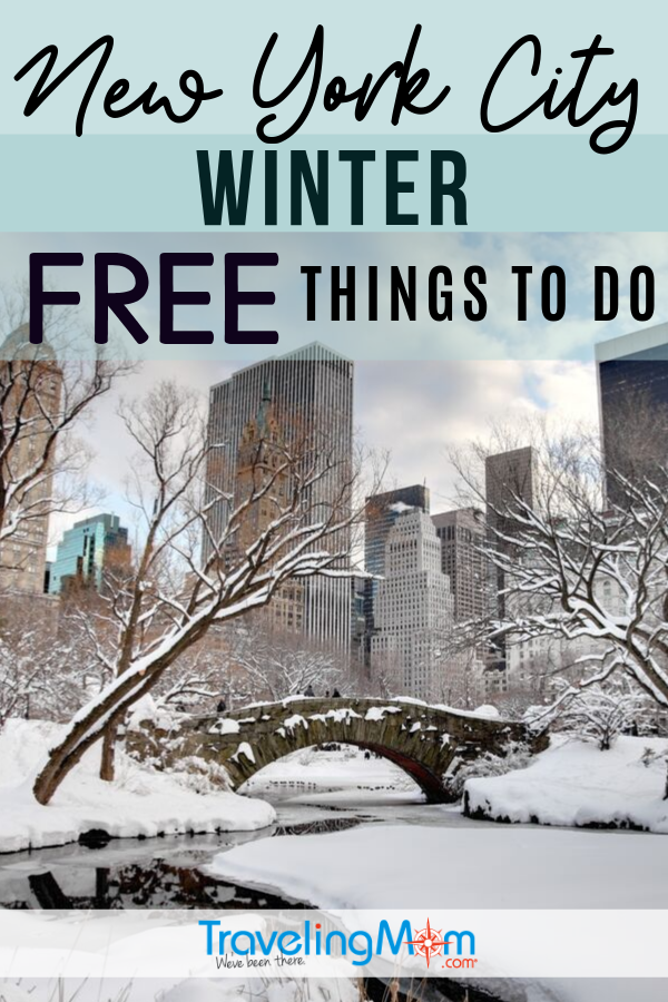 While New York City is know for being a pricey travel destination, there are many free things to do in NYC during the winter! Find out what there is to see, do and experience (indoor and outdoor activities) with a highlight on holiday events for families. #TMOM #Freein50States #NYC #NewYork #BudgetTravel | TravelingMom | Free in 50 States | Winter Travel | Travel on a Budget