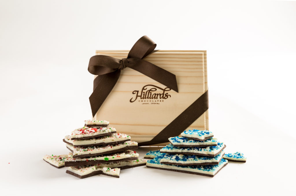 wooden candy box with peppermint bark