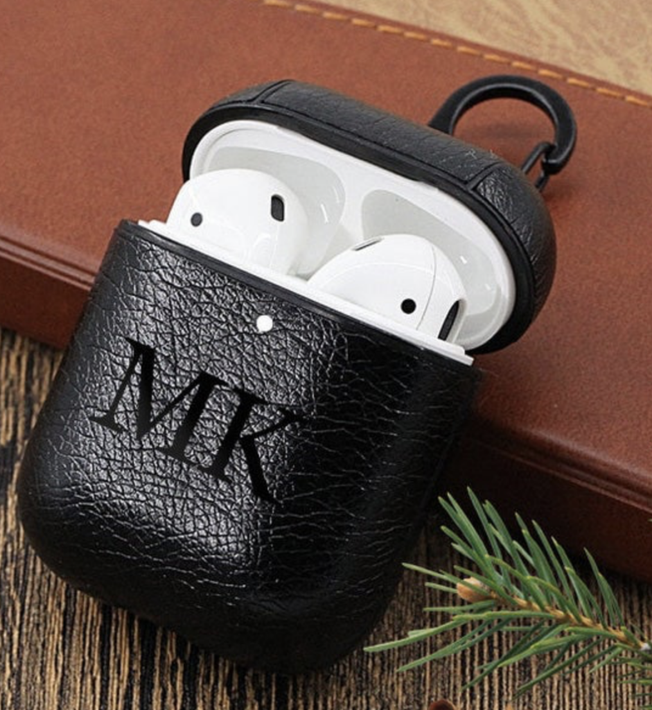 custom initials on an AirPods case