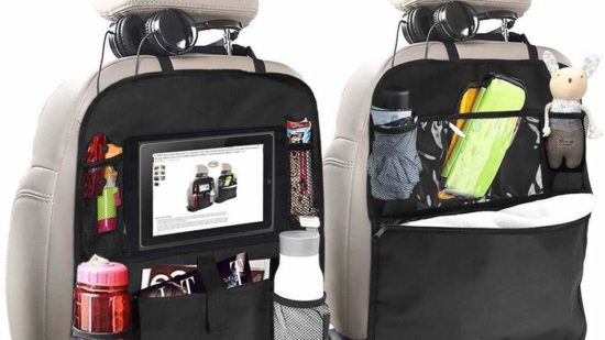 Backseat organizer for kids on road trips.
