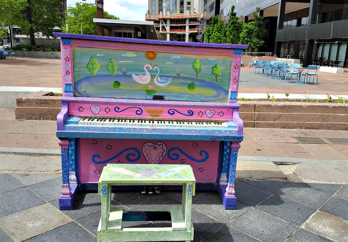 Free to play and free to admire, the colorful pianos along Denver's 16th Street Mall Pedestrian Walk.