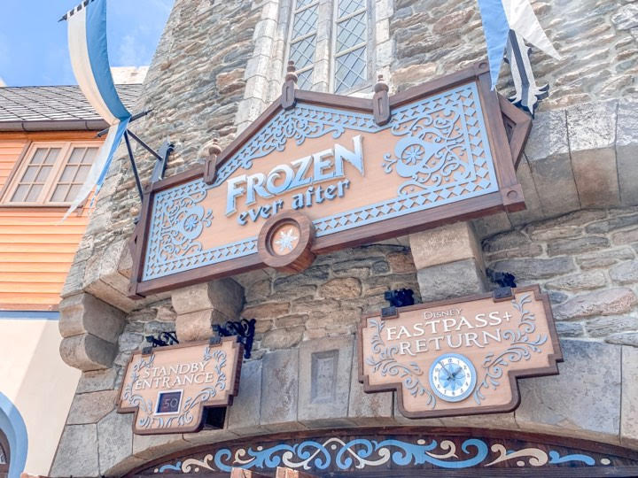 Front entrance to the Frozen Ever After ride