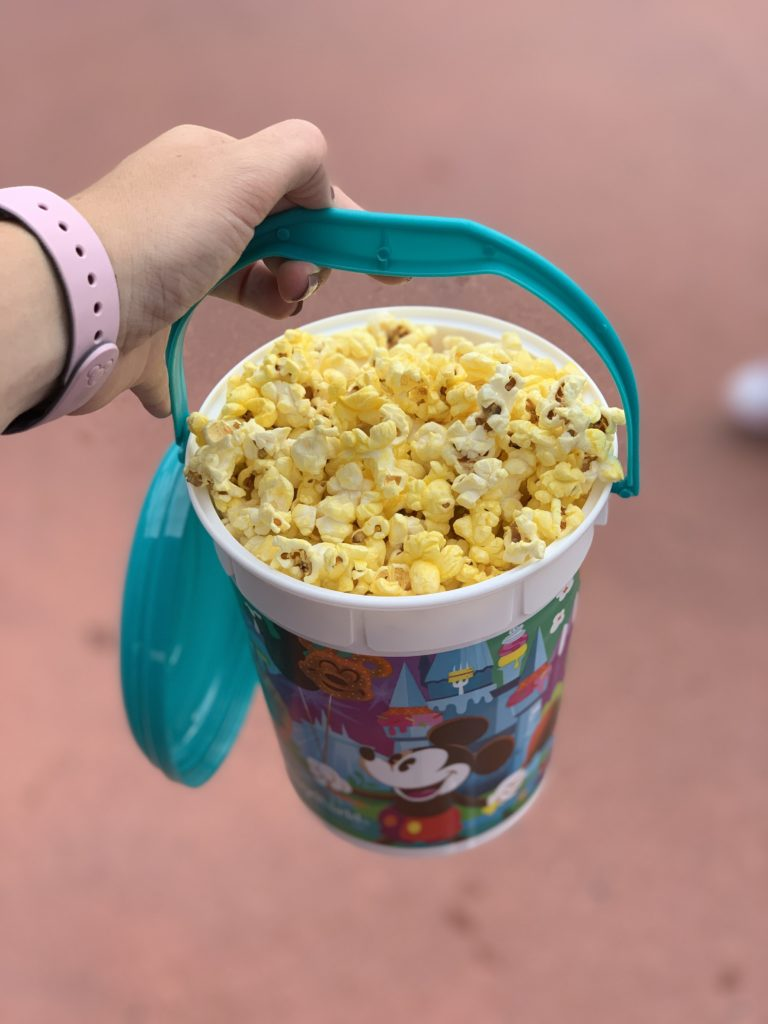 Tips for saving money at Disney - refillable popcorn bucket.