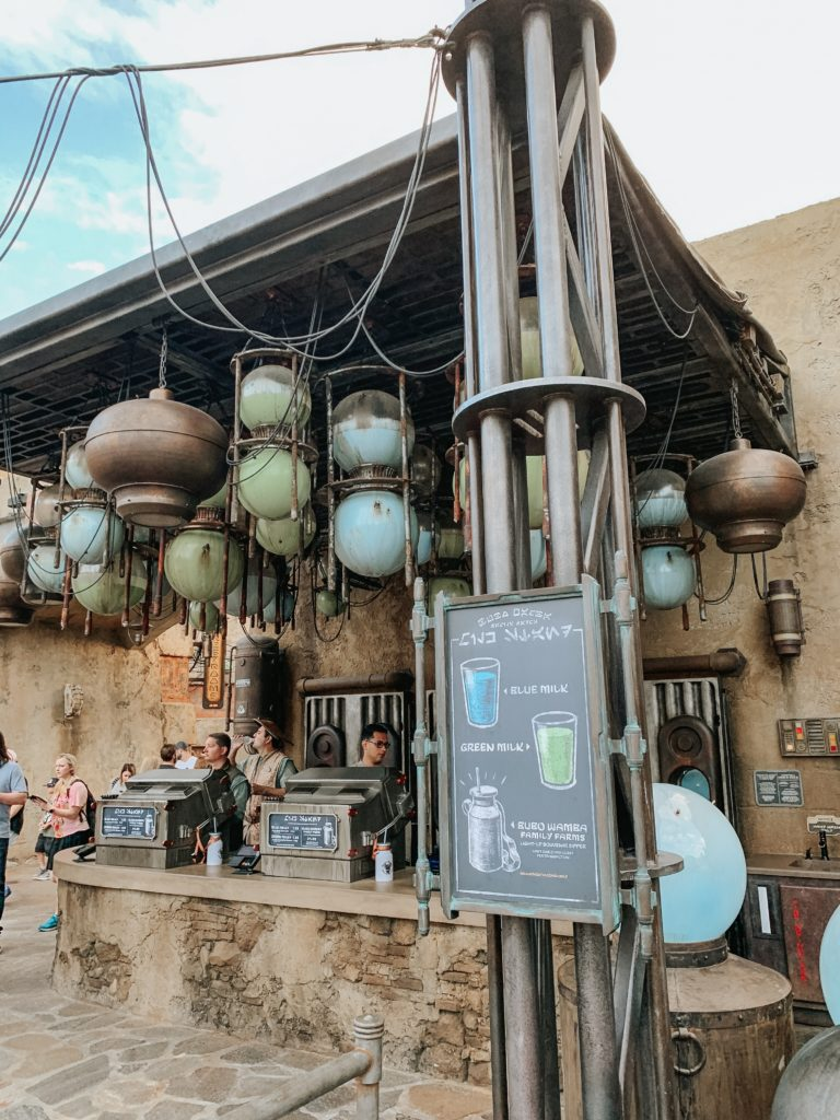 Don't forget to visit the milk stand which at Star Wars: Galaxy's Edge