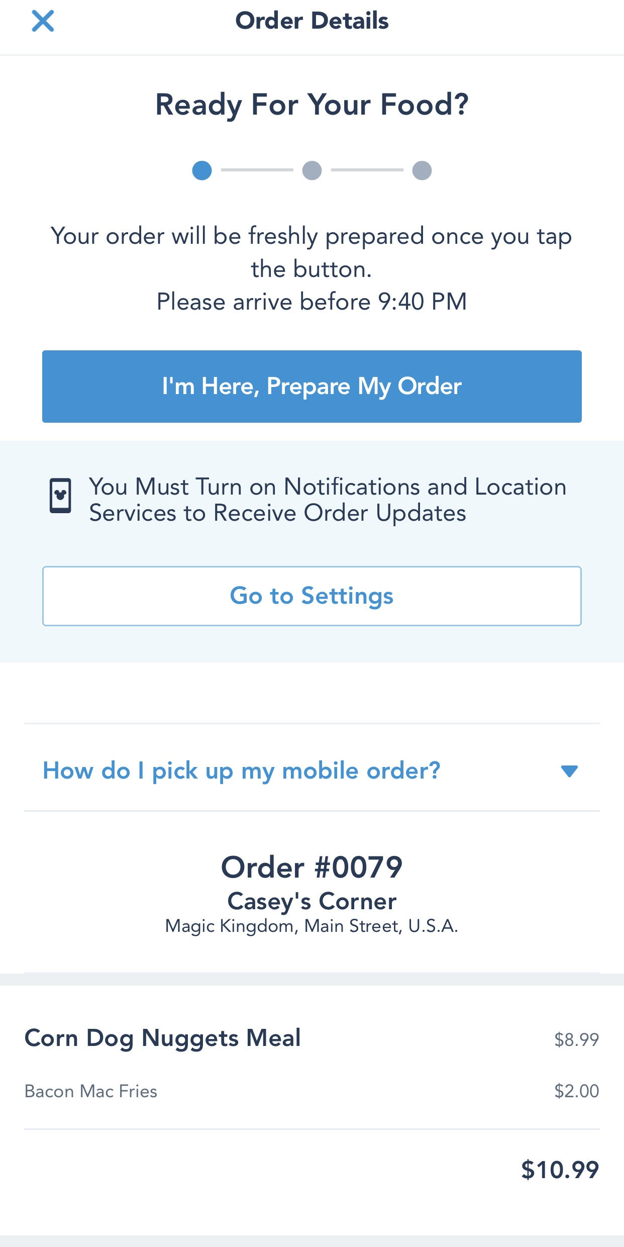 Mobile order your meals with My Disney Experience.