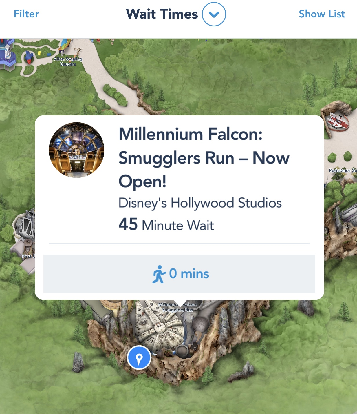You can see ride wait times in My Disney Experience.
