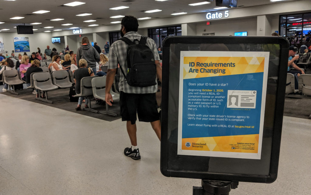 real ID requirements sign at the airport