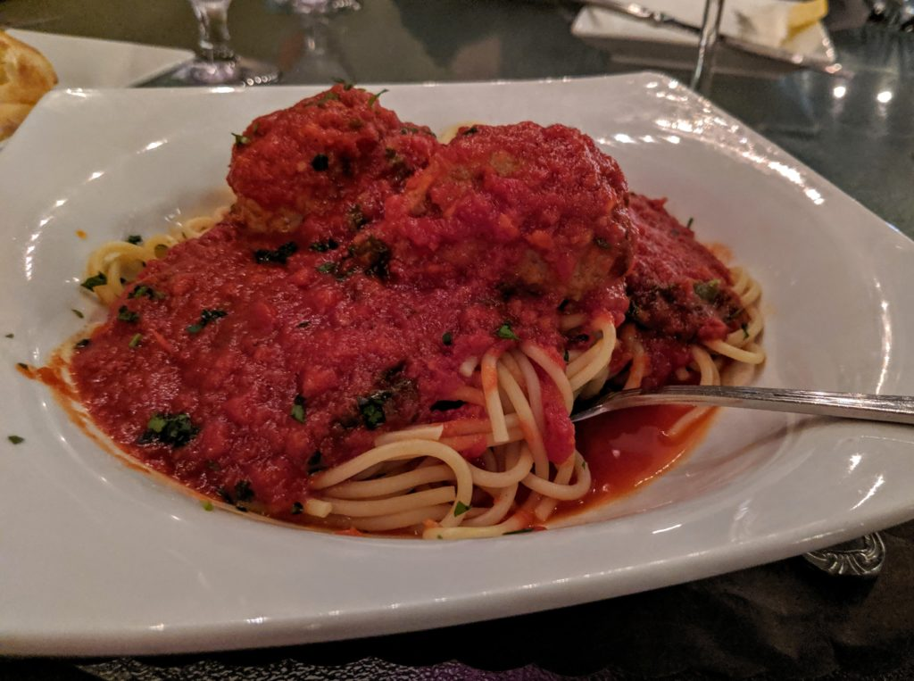 Spaghetti dinner at Carmello's, a restaurant in Punta Gorda Florida