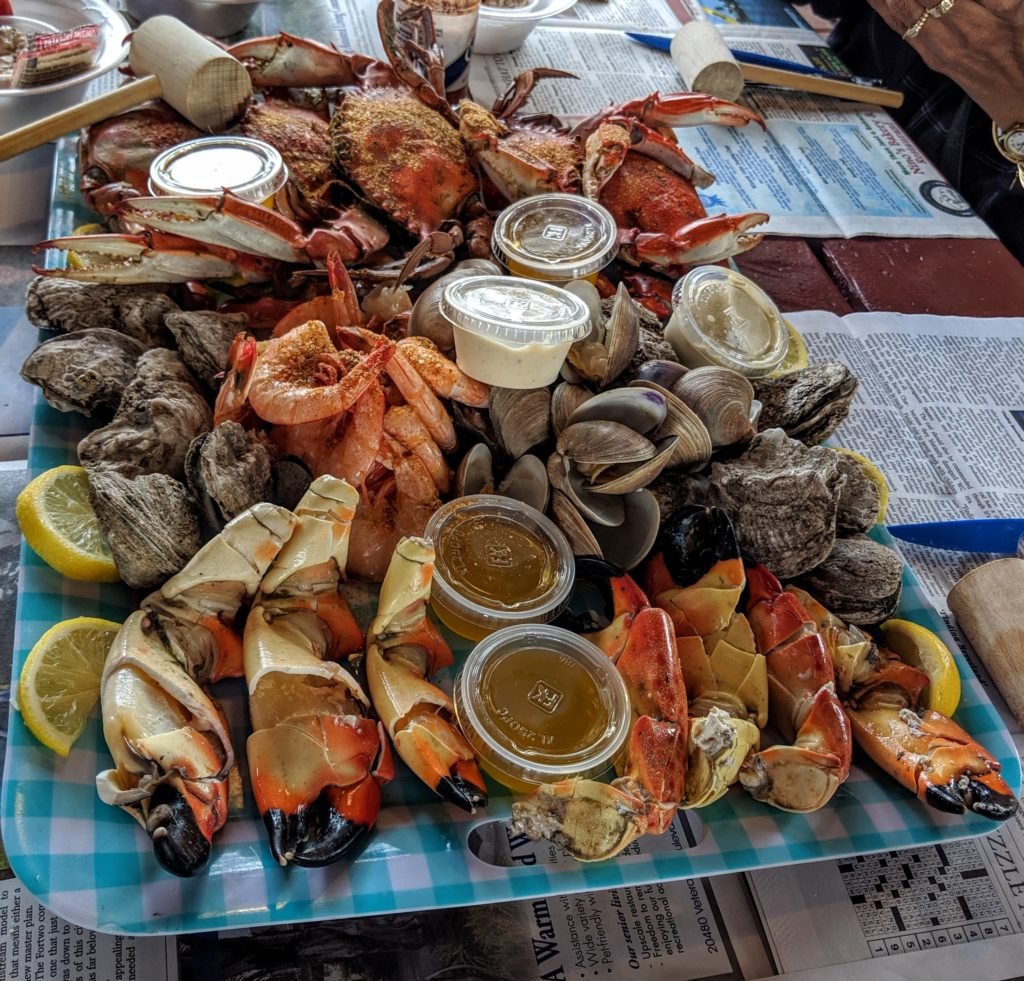 Seafood tray at Peace River Seafood in Punta Gorda Florida