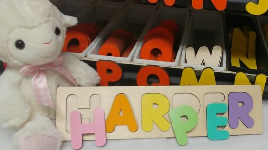Wooden name puzzle for kids.