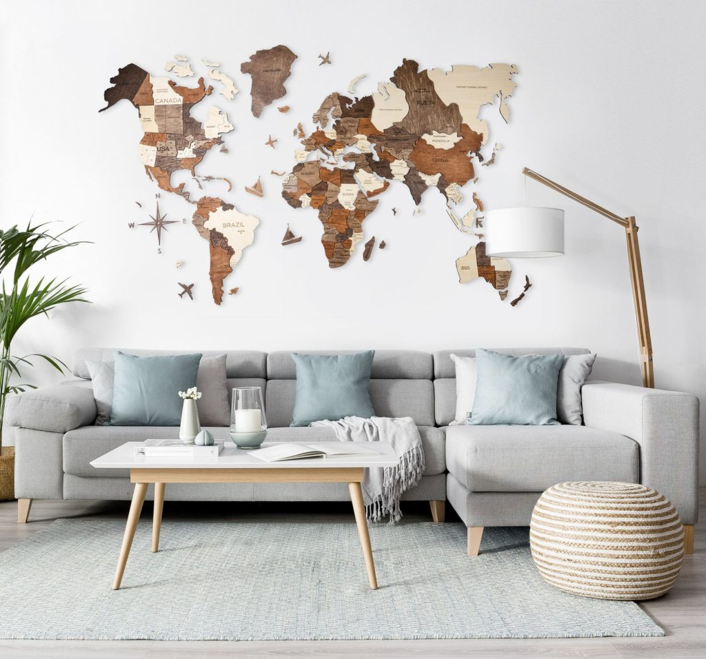 a wooden wall map to hang in your home