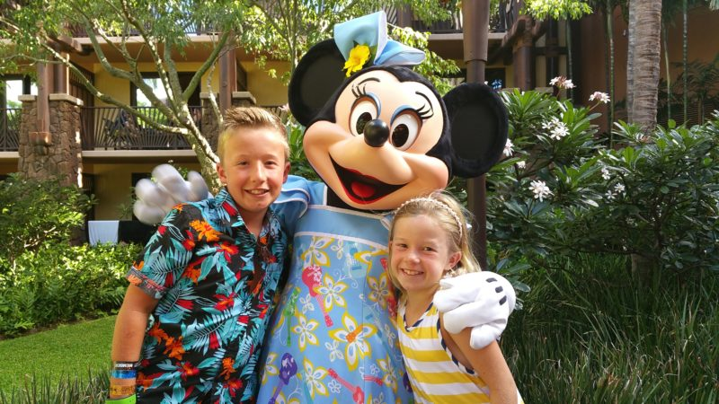 Character dining at Aulani resort.