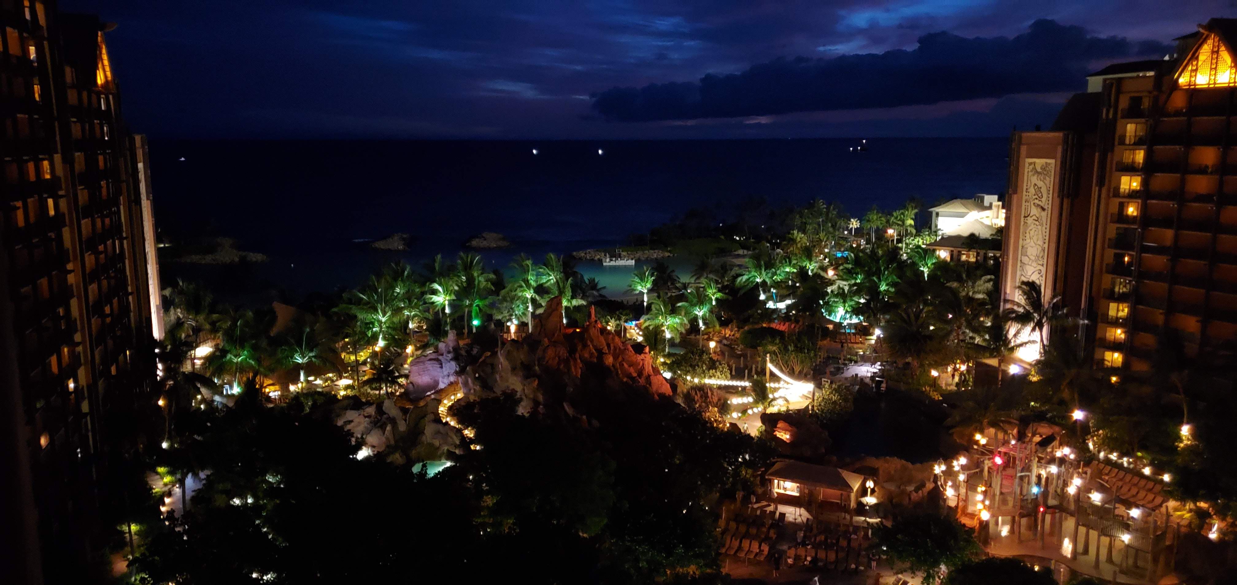 Evenings at the Aulani resort are beautiful.