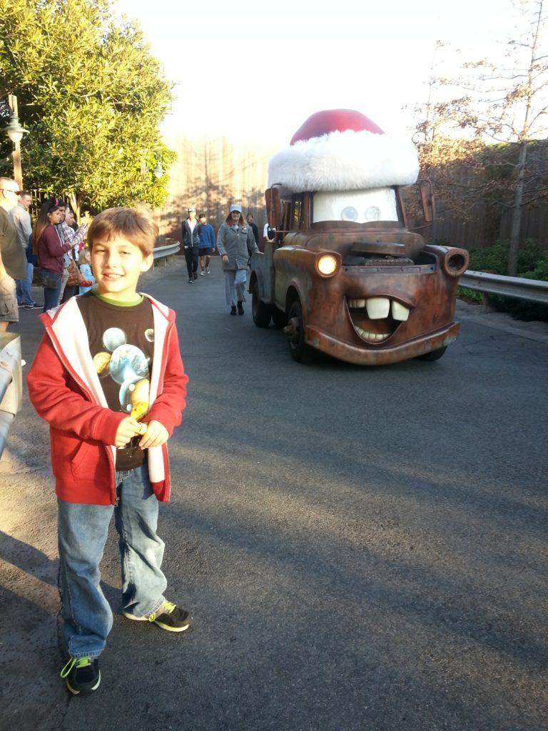 Cars Land decorated for Disneyland Christmas