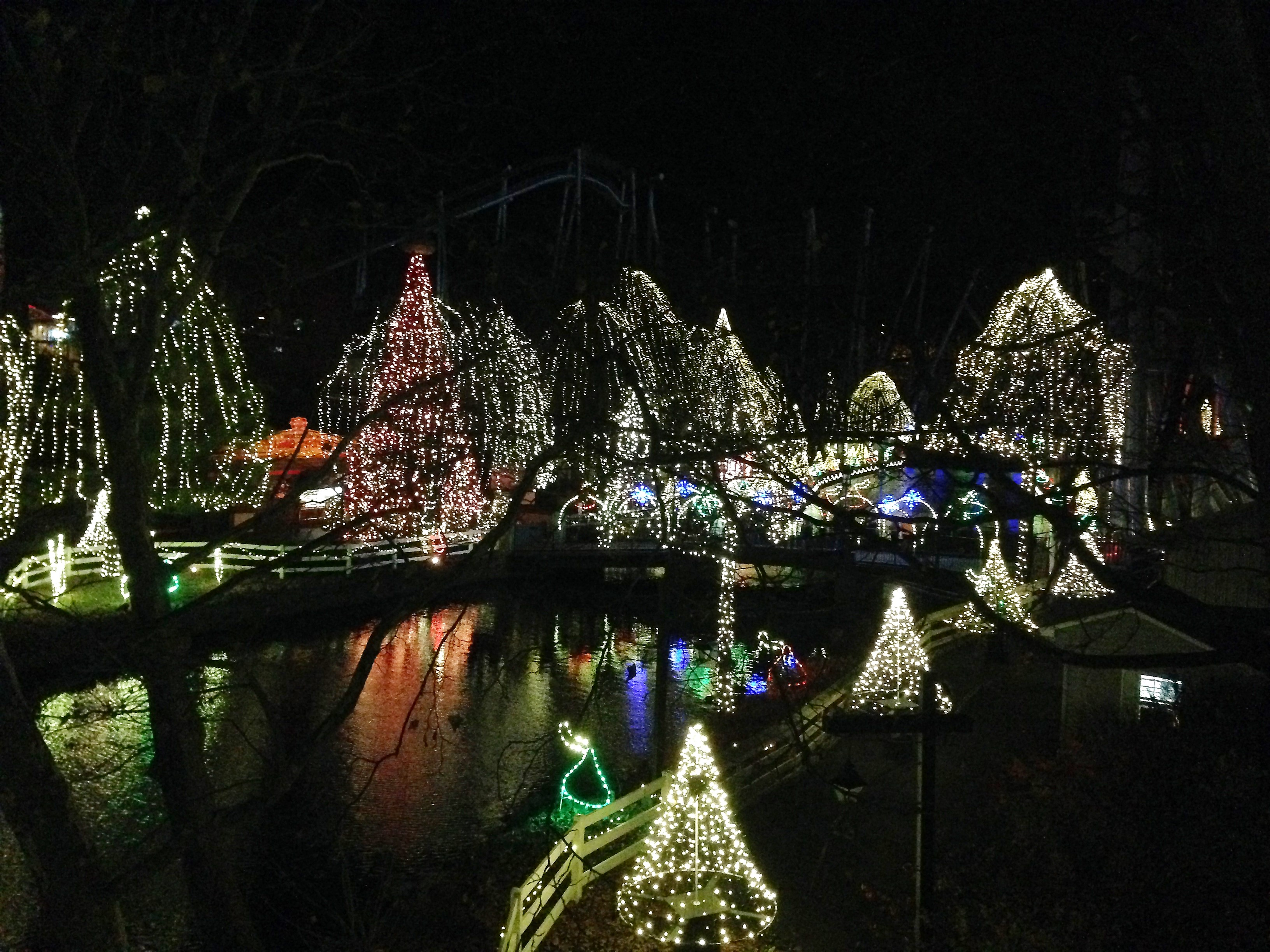 Hersheypark at Christmas - the Hollow at night.