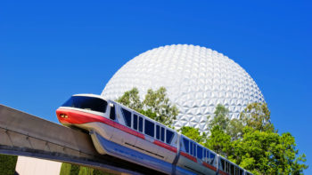 spaceship earth with the monorail going in front of it