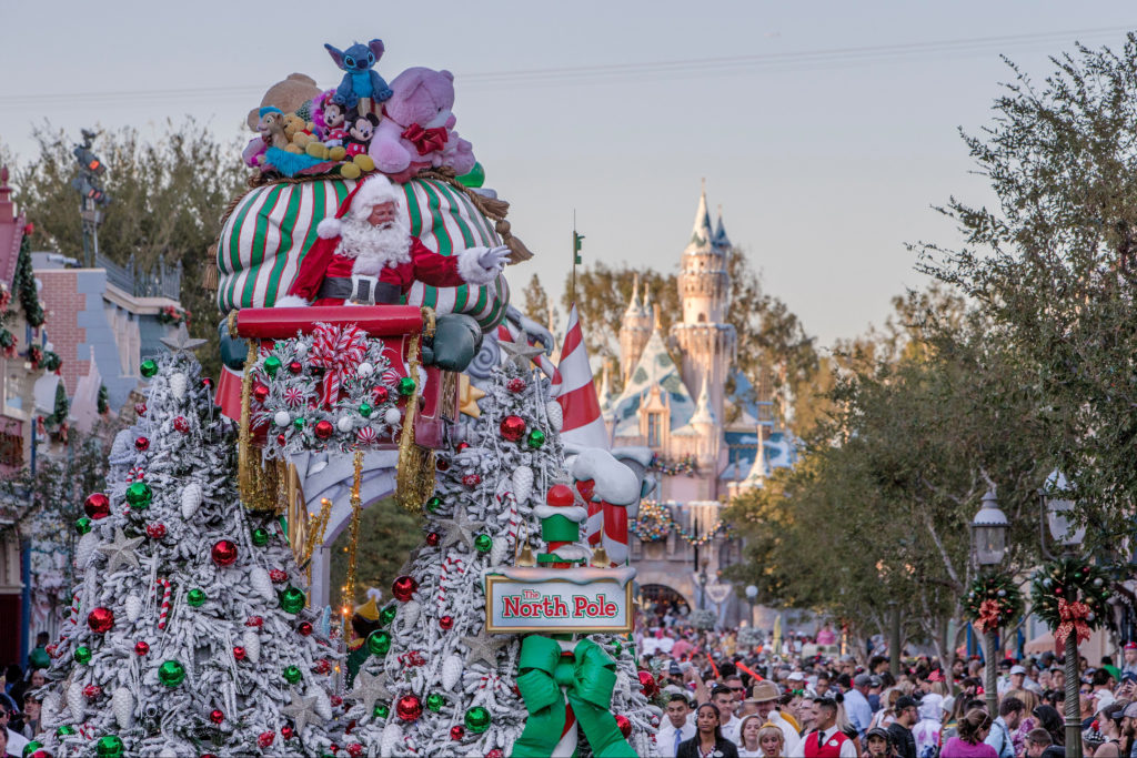 Holiday parade for Disneyland Christmas.