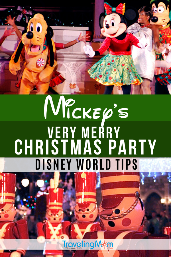 These are the essential tips for doing Mickey's Very Merry Christmas Party at Walt Disney World! Held in Magic Kingdom, this special ticket event is a holiday must-do. Get all the advice on rides, characters, where to find seasonal treats and entertainment. #TMOM #Disney #DisneyWorld #WDW #MVMCP #ChristmasTravel #Orlando | TravelingMom | Travel with Kids | Winter Travel | Holiday Travel Tips