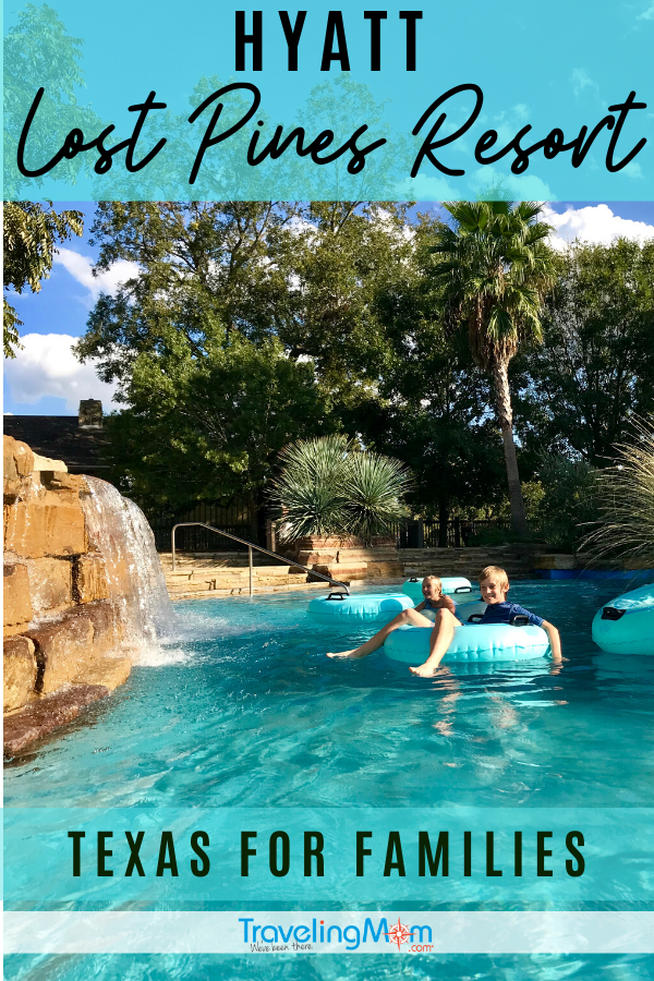 The Hyatt Lost Pines Resort in Texas is family friendly and still luxurious. Get the details on room accommodations, the gorgeous pool, dining options and how the Christmas season is celebrated at the resort. #TMOM #Texas #LostPines #LuxuryHotel #FamilyTravel #TravelwithKids #Hyatt | TravelingMom | Resort | Travel with Kids | Family Travel