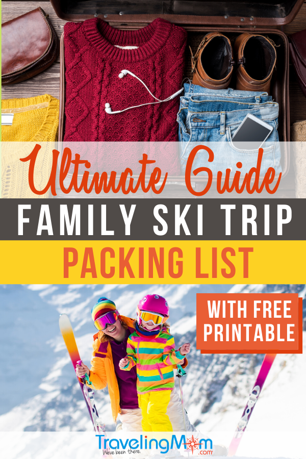 Everyone will be prepared to hit the slopes on your next ski vacation with this detailed family ski trip packing list. This ultimate guide offers tips on must-haves for both the snow and hotel. You won't forget anything with this comprehensive free printable packing list! #SkiVacation #FamilyTravel #WinterTravel #Skiing #PackingList #TMOM | TravelingMom | Skiing | Winter Travel Tips | Packing Suitcases