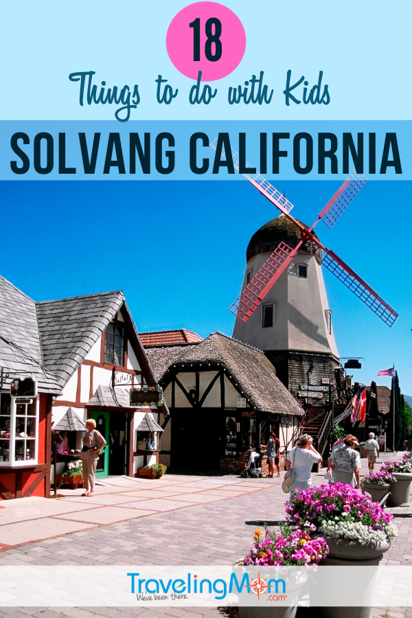 A taste of Denmark in the United States, the quaint city of Solvang near the California coast offers kid-friendly fun. Just a short road trip from Los Angeles, this Danish hamlet offers family entertainment including traditional dining (waffles!), souvenir shopping (LEGOS!) and advice on the best places to stay. #TMOM #Solvang #California #Danish #Denmark | TravelingMom