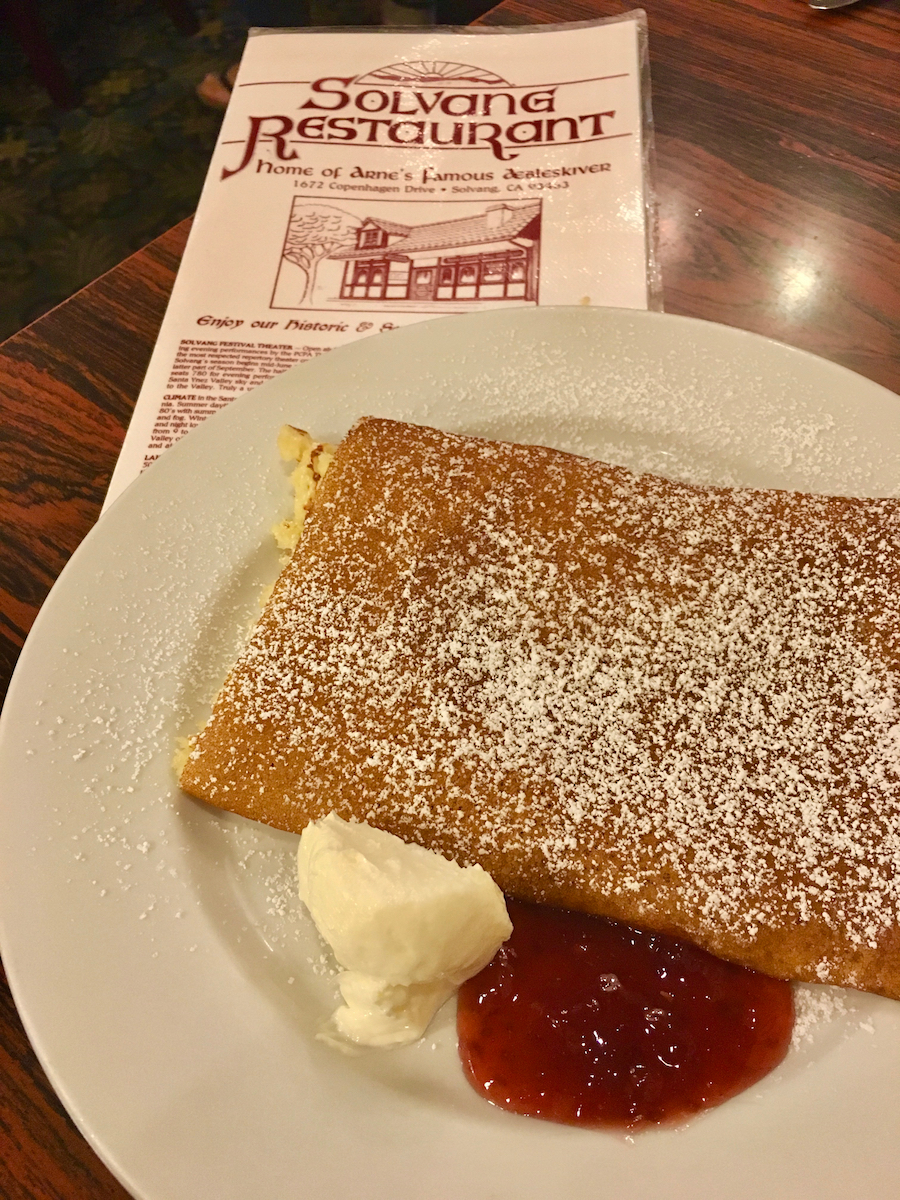 Danish pancake in Solvang CA