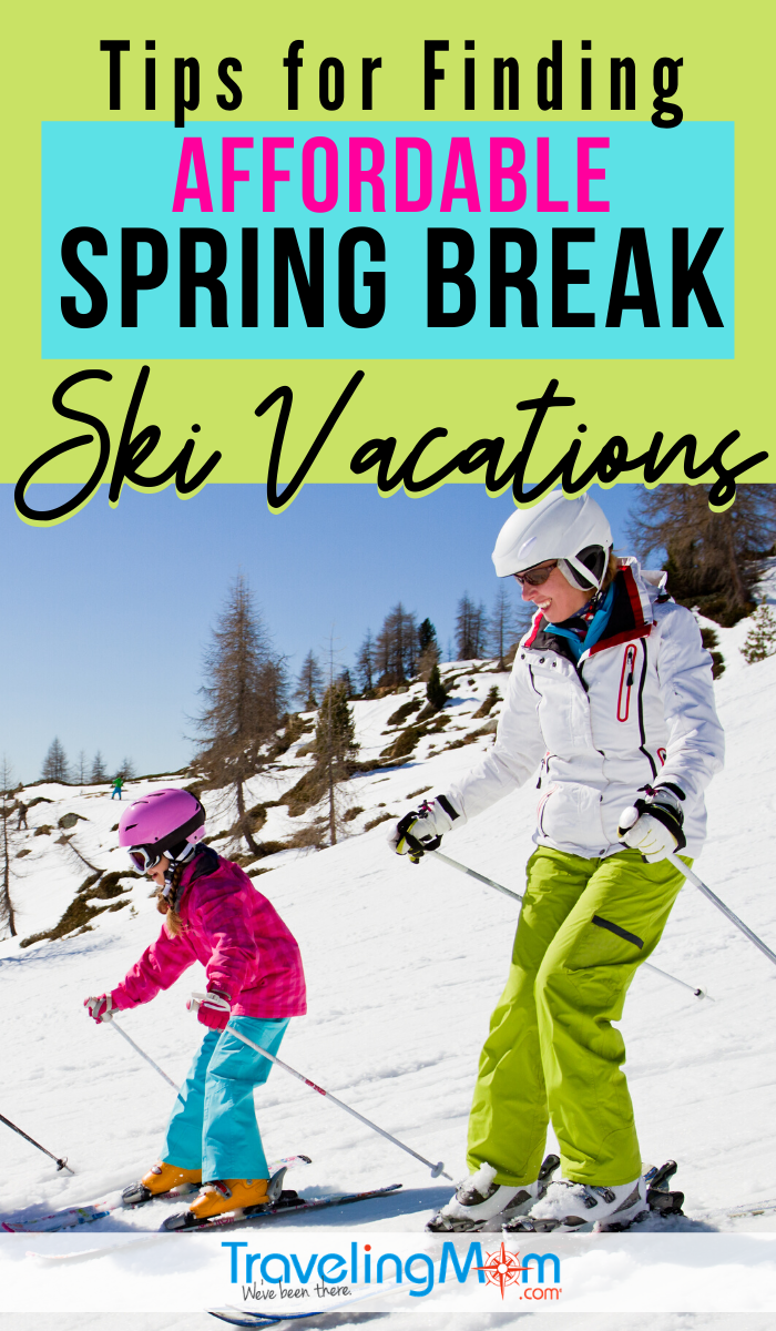 Budget-friendly ski trips can be yours with these tips for finding an affordable ski vacation during spring break. From coast to coast you can hit the slopes with the best tips on discounted ski accommodations, travel and lift tickets. #TMOM #SkiVacation #Skiing #WinterTravel | TravelingMom | Budget Travel | Saving Money on Vacation | Ski Vacation | Winter Travel | Skiing