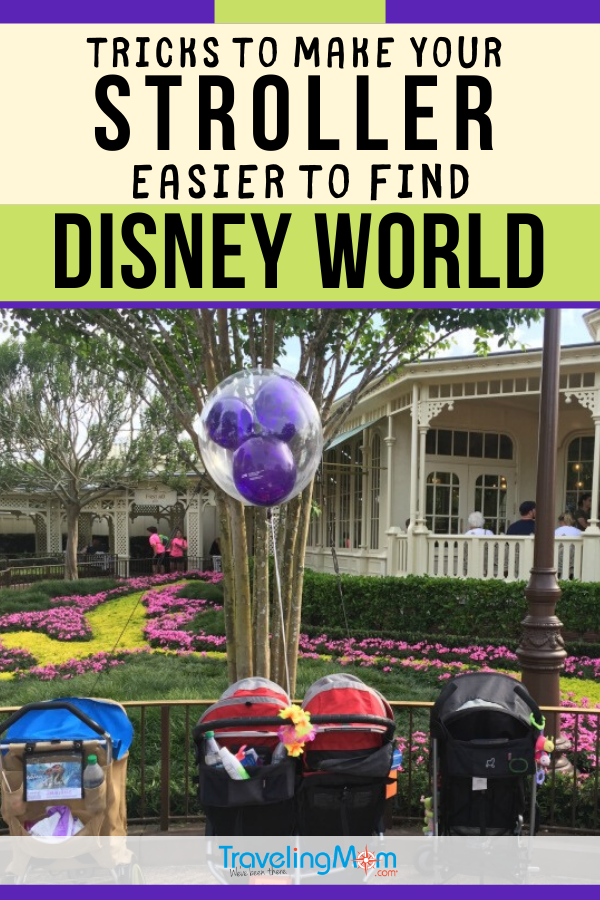 Finding your stroller in a sea of other strollers at Disney World isn't always an easy task, especially during busy seasons. These easy hacks will help you trick out your stroller to make it stand out. The easier it is to find your stroller, the quicker you can be on to the next Disney adventure! #Disney #DisneyWorld #WDW #DisneyTips #Strollers #ToddlerTravel #TravelwithBaby #TMOM | TravelingMom | Walt Disney World | Travel with Babies | Toddler Travel Tips