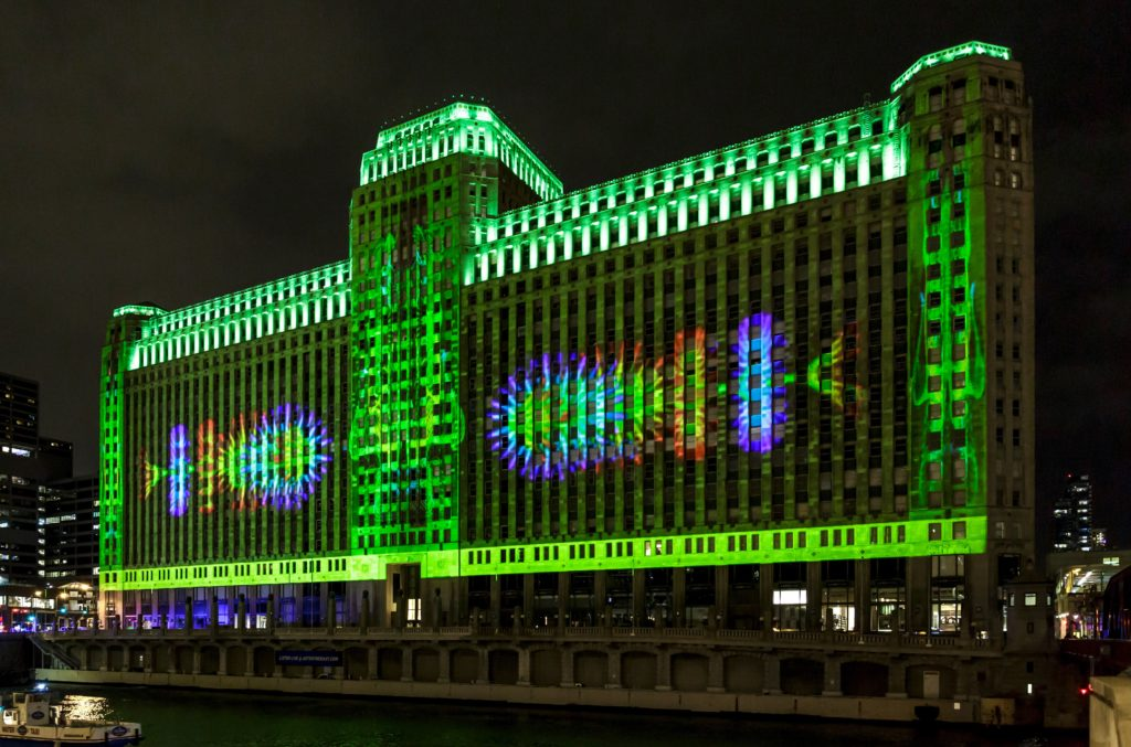 Art on the Mart is a digital art show on the landmark Merchandise Mart building in downtown Chicago.
