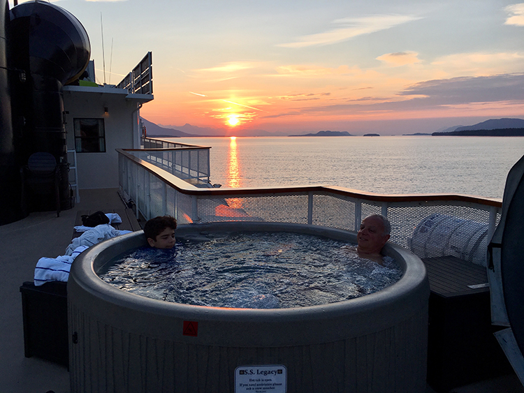 Enjoying the hot tub on an Uncruise Alaska trip.