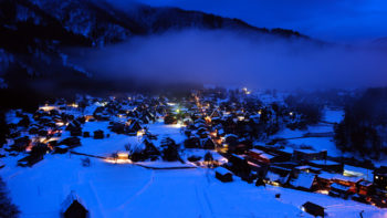 Holiday travel - winter town at night