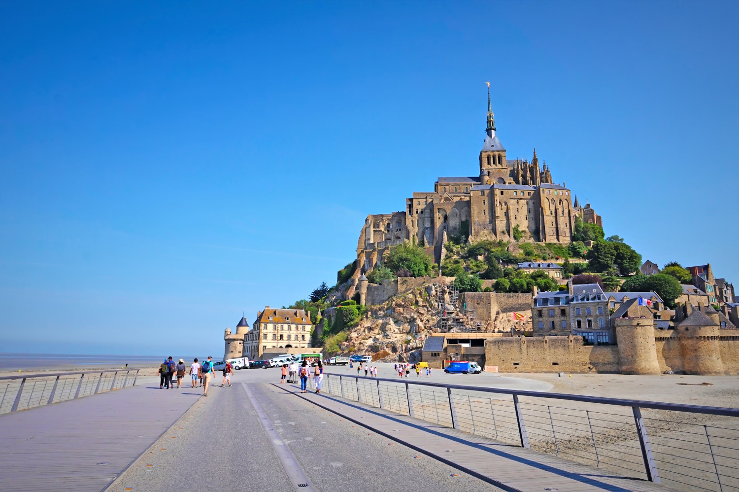 Walkway to Mont St. Michel France.
