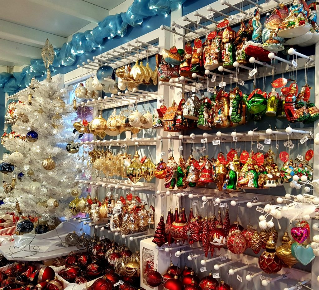 Ornaments for sale at a European Christmas market.