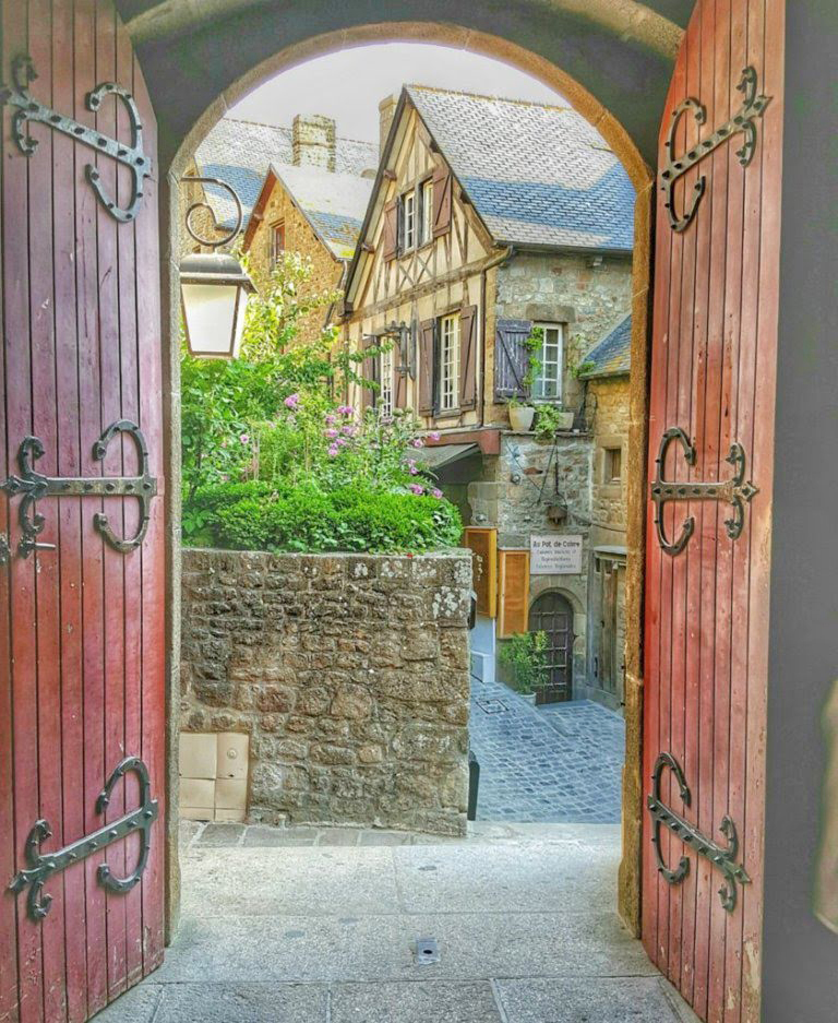 Charming old door at Mont St. Michel France