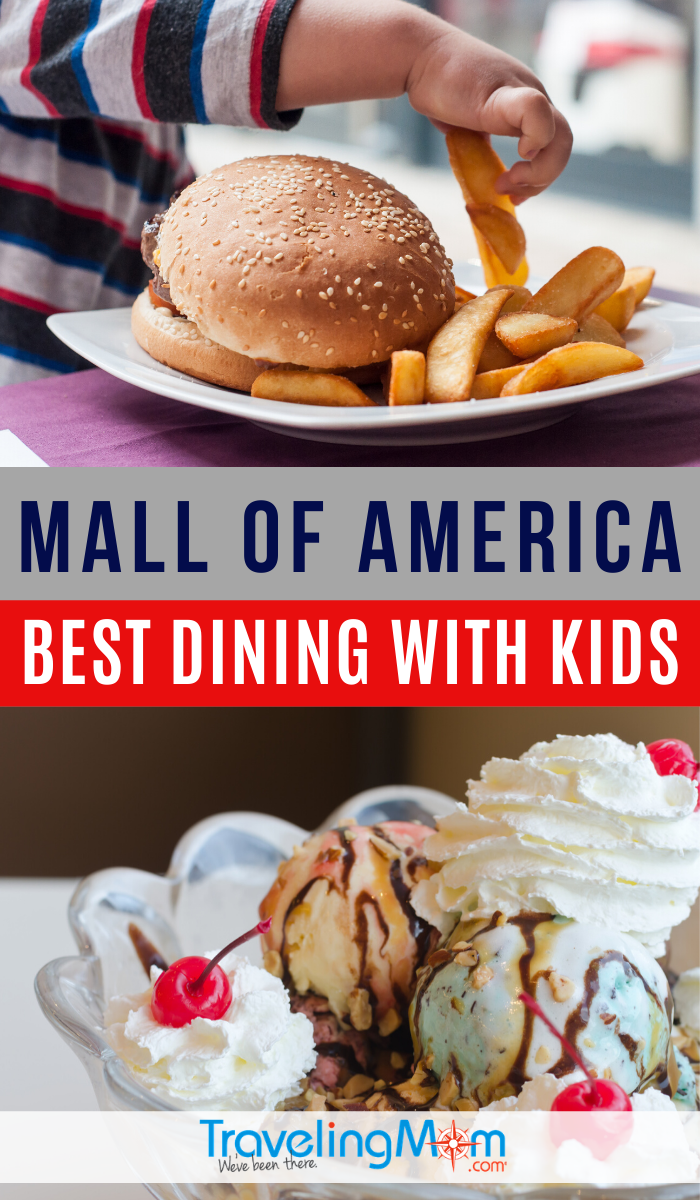 The Mall of America in Bloomington Minnesota is a shopper's delight, but what's there to eat? These are the best dining locations for kids including ideas for toddlers, kid-friendly bites and desserts. #TMOM #MallofAmerica #Bloomington #MN #EatingOut #DiningwithKids #TravelwithKids #FamilyTravel