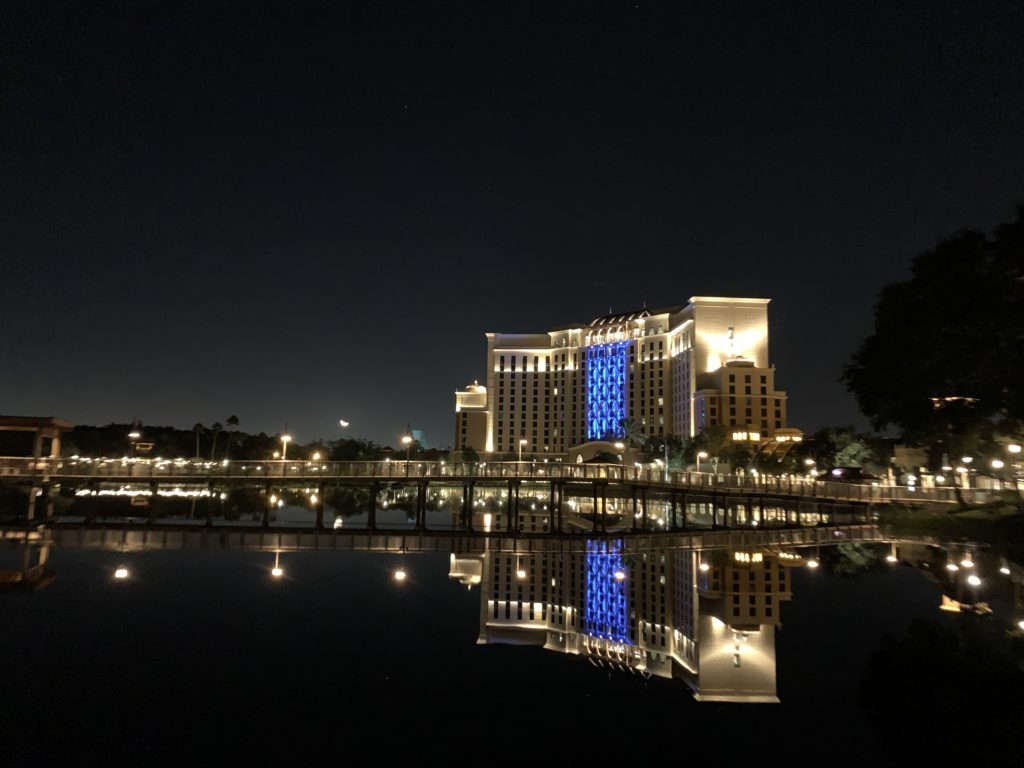 The night time view of the Coronado Springs Resort