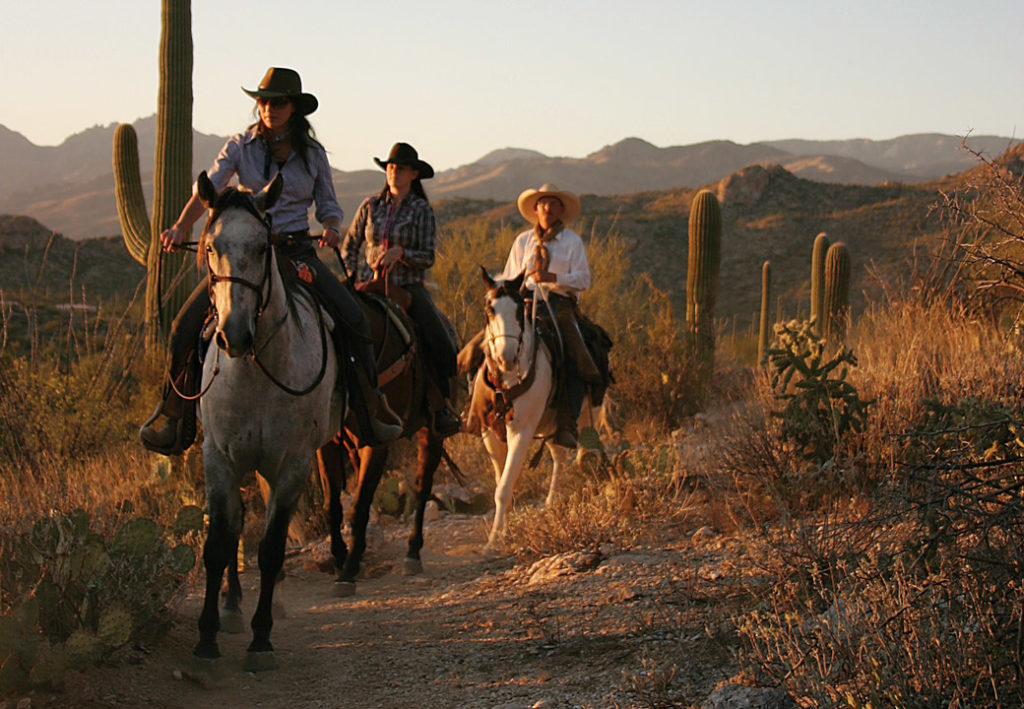 Horseback riding at Tanque Verde Dude Ranch for a socially distant vacation.